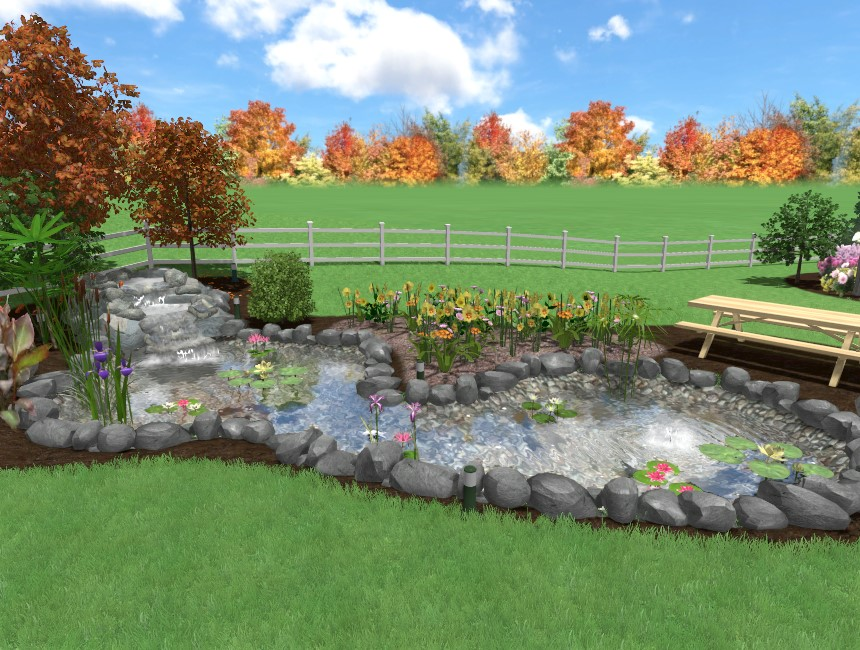 You have completed this quick tutorial on adding a pond to your 3D landscape design