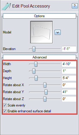 Edit your pool accessory using the following customization options