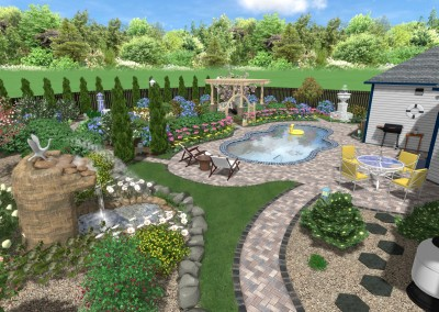 Pool and Backyard - 3D Sample Landscape