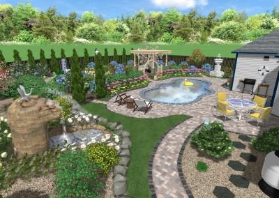 Pool and Backyard - 3D Sample Landscape