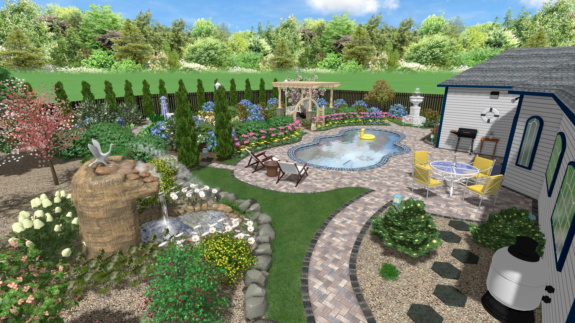 Pool and Backyard - 3D S&le Landscape & Landscape Design Software Gallery
