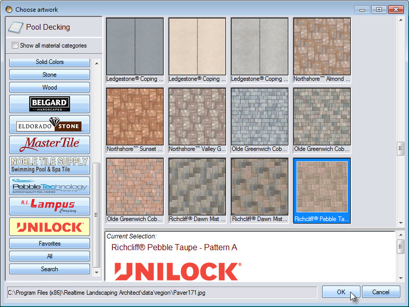 Selection of pool deck materials including some from Unilock, Belgard,and Eldorado stone