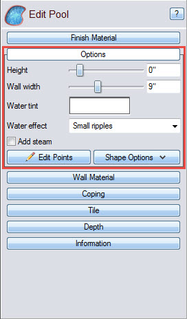 Customize and edit your pool dimensions