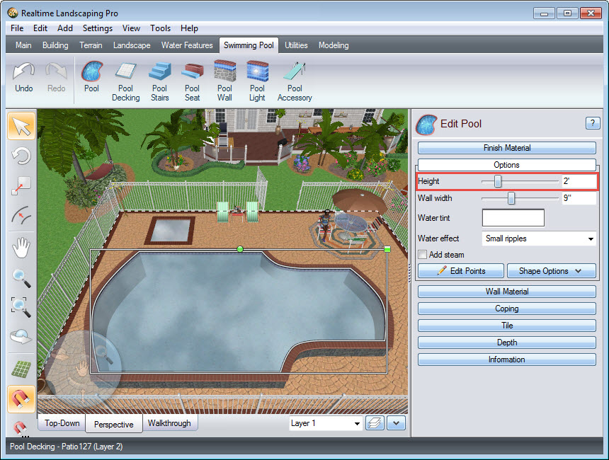 You can make your pool an above ground pool by editing the height