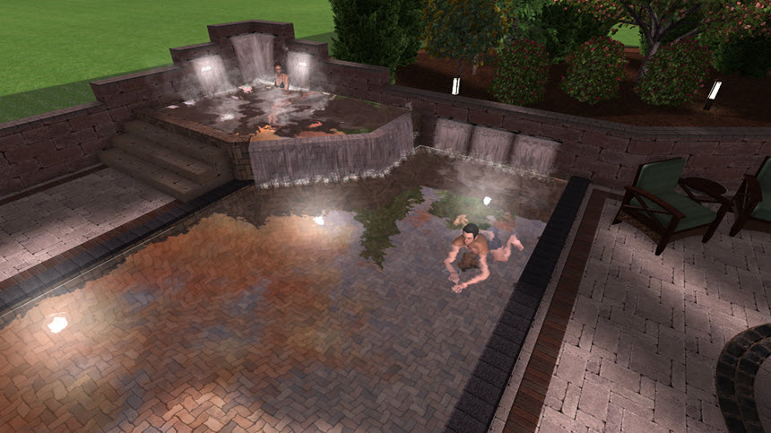 You have now completed adding pool lights to your 3D landscape design
