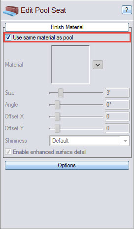 Select this option to make your pool seat material the same as the pool