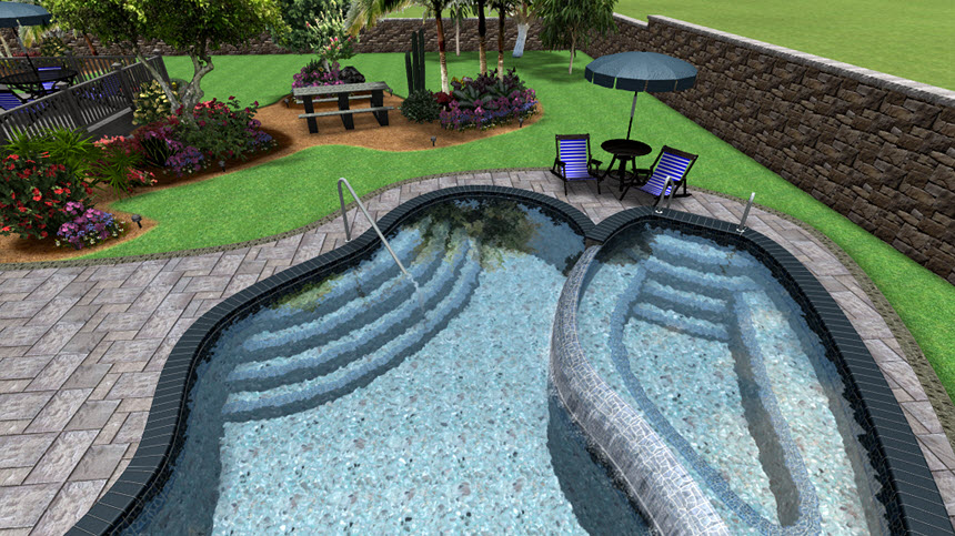 You Have Completed Adding Pool Stairs Using Realtime Landscaping Architect