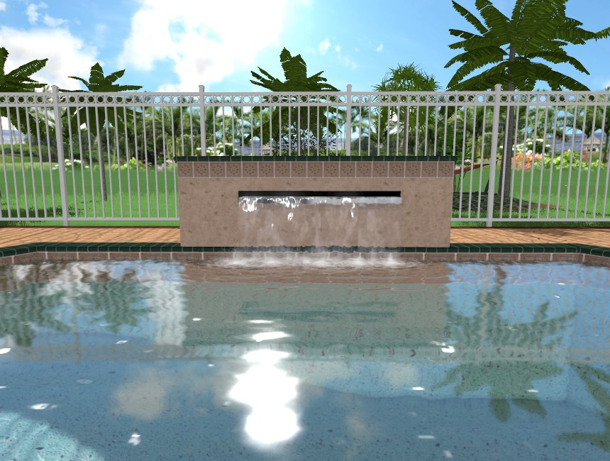 You have completed adding a pool wall with a spillway to your landscape design