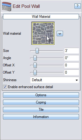 Click the material image to choose from a variety of materials for your pool wall