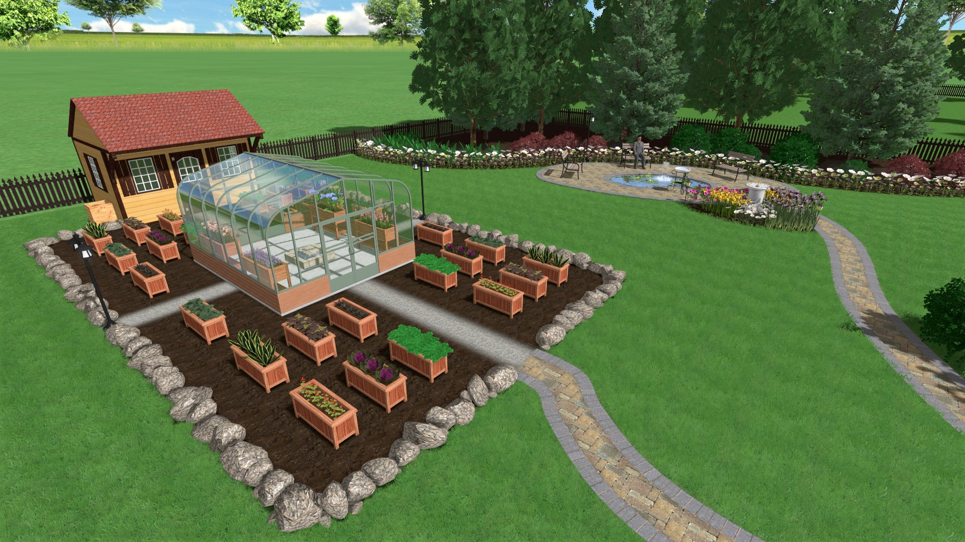 Sample Garden Design with Greenhouse