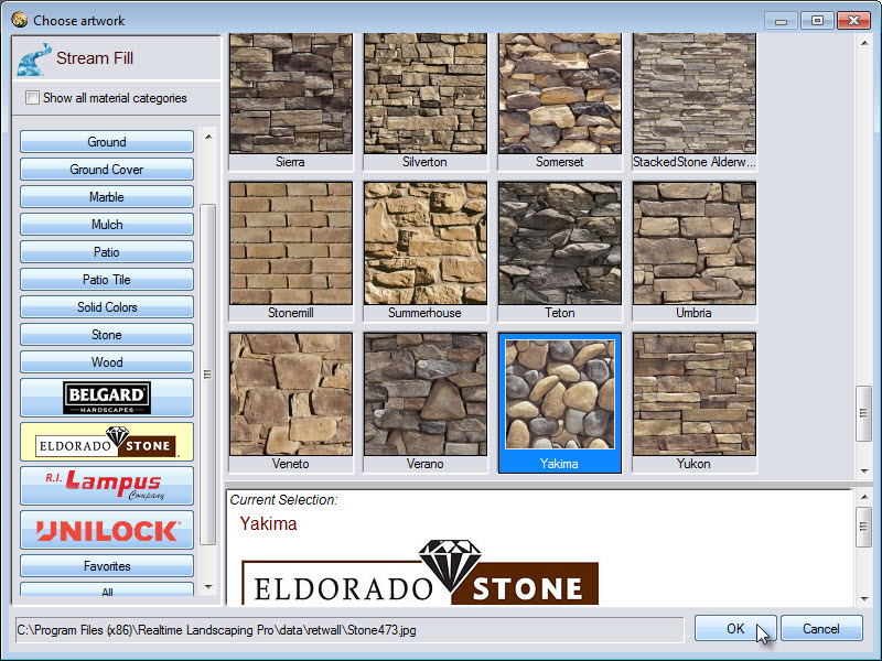 Wide selecrion of stream fill materials, including some from Belgard, Eldorado stone, and Unilock