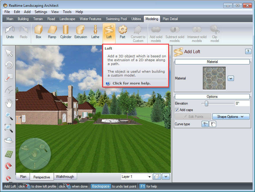 Create the string or cable using the Loft modeling tool