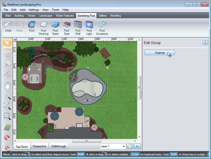 Rotate and scale your swimming pool as desired
