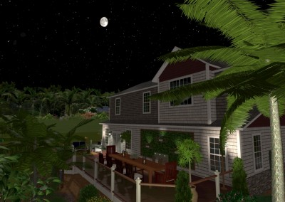 Tropical Landscape Design in the Evening