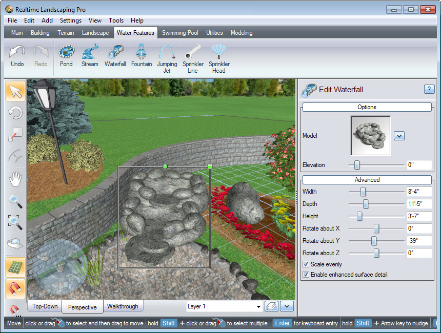 Place your outdoor waterfall using our landscaping software
