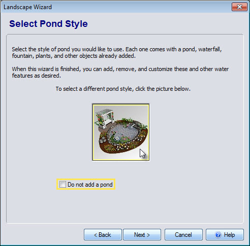 Select a pond in the Wizard